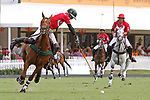 WELLINGTON, FL - MARCH 26: Julio Arellano of Coca Cola (green helmut) takes control of the ball as Valiente defeats Coca Cola 9-6 in the final of the 26 goal USPA Gold Cup, at the International Polo Club, Palm Beach on March 26, 2017 in Wellington, Florida. (Photo by Liz Lamont/Eclipse Sportswire/Getty Images)