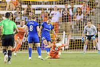 Houston, TX - Sunday Sept. 25, 2016: Kim Little, Manon Melis, Morgan Brian during a regular season National Women's Soccer League (NWSL) match between the Houston Dash and the Seattle Reign FC at BBVA Compass Stadium.