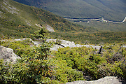 Franconia Notch State Park - Scenic views along the Rim Trail on the summit of Cannon Mountain in the White Mountains, New Hampshire USA