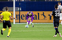 CARSON, CA - OCTOBER 14: Jonathan Klinsmann #33 GK of Los Angeles Galaxy scooped a ball during a game between San Jose Earthquakes and Los Angeles Galaxy at Dignity Heath Sports Park on October 14, 2020 in Carson, California.
