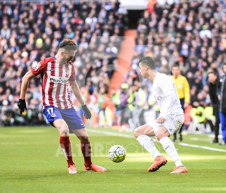 Real Madrid´s Cristiano Ronaldo and Atletico de Madrid´s Saul Niguez during 2015/16 La Liga match between Real Madrid and Atletico de Madrid at Santiago Bernabeu stadium in Madrid, Spain. February 27, 2016. (ALTERPHOTOS/Javier Comos)