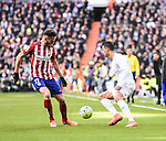 Real Madrid´s Cristiano Ronaldo and Atletico de Madrid´s Saul Niguez during 2015/16 La Liga match between Real Madrid and Atletico de Madrid at Santiago Bernabeu stadium in Madrid, Spain. February 27, 2016. (ALTERPHOTOS/Javier Comos)