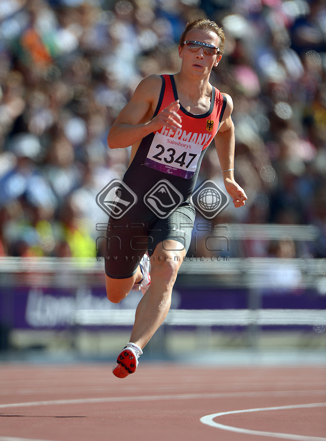 Thomas Ulbricht (GER)<br /> Athletics : Men's 200m T-12<br /> Olympic Stadium (Friday 7 Sept)<br /> Paralympics - Summer / London 2012<br /> London England 29 Aug - 9 Sept <br /> © Sport the library / Jeff Crow