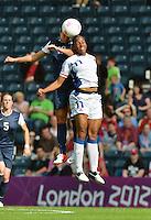 Glasgow, Scotland - July 25, 2012: Carli Lloyd during USA's Olympic opener against France. The US women's team won 4-2.
