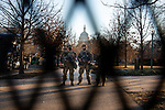 National Guard troops secure the U.S. Capitol ahead of President-Elect Joe Biden's Inauguration on January 19, 2021 in Washington, D.C..  Photograph by Michael Nagle