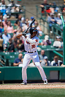 Rochester Red Wings right fielder Niko Goodrum (38) bats during a game against the Scranton/Wilkes-Barre RailRiders on June 7, 2017 at Frontier Field in Rochester, New York.  Scranton defeated Rochester 5-1.  (Mike Janes/Four Seam Images)