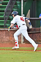 Elizabethton Twins designated hitter Kolton Kendrick (47) runs to first base during game one of the Appalachian League Championship Series against the Pulaski Yankees at Joe O'Brien Field on September 7, 2017 in Elizabethton, Tennessee. The Twins defeated the Yankees 12-1. (Tony Farlow/Four Seam Images)