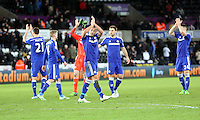 Swansea, UK Saturday 17 January 2015<br /> Chelsea team captain John Terry (C) thanks supporters after the end of the game<br /> Barclays Premier League, Swansea City FC v Chelsea at the Liberty Stadium, south Wales, UK