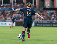 HOUSTON, TX - JUNE 13: Emily Sonnett #14 of the USWNT passes the ball during a game between Jamaica and USWNT at BBVA Stadium on June 13, 2021 in Houston, Texas.