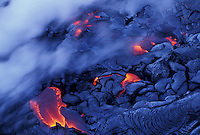 Lava enters the sea from Kilauea volcano of the coast of the  Big Island