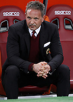 Calcio, Serie A: Roma vs Milan. Milan coach Sinisa Mihajlovic waits for the start of the Italian Serie A football match between Roma and Milan at Rome's Olympic stadium, 9 January 2016.<br />