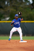 Indiana State Sycamores second baseman Brian Fuentes (3) during a game against the Chicago State Cougars on February 23, 2020 at North Charlotte Regional Park in Port Charlotte, Florida.  Chicago State defeated Indiana State 3-0.  (Mike Janes/Four Seam Images)