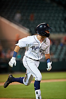 Lakeland Flying Tigers second baseman Kody Clemens (8) runs to first base during a Florida State League game against the Tampa Tarpons on April 5, 2019 at Publix Field at Joker Marchant Stadium in Lakeland, Florida.  Lakeland defeated Tampa 5-3.  (Mike Janes/Four Seam Images)
