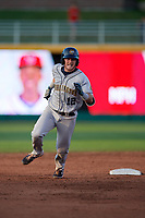 Burlington Bees Justin Jones (12) running the bases during a Midwest League game against the Lansing Lugnuts on July 18, 2019 at Cooley Law School Stadium in Lansing, Michigan.  Lansing defeated Burlington 5-4.  (Mike Janes/Four Seam Images)
