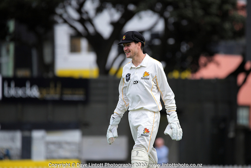 Lauchie Johns during day one of the Plunket Shield match between the Wellington Firebirds and Otago at Basin Reserve in Wellington, New Zealand on Thursday, 5 November 2020. Photo: Dave Lintott / lintottphoto.co.nz