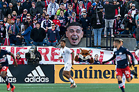 FOXBOROUGH, MA - MARCH 7: Gustavo Bou #7 of New England Revolution facsimile amongst the fans during a game between Chicago Fire and New England Revolution at Gillette Stadium on March 7, 2020 in Foxborough, Massachusetts.