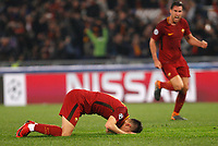 Roma s Cengiz Under, left, and Kevin Strootman celebrate at the end of the Uefa Champions League quarter final second leg football match between AS Roma and FC Barcelona at Rome's Olympic stadium, April 10, 2018. Roma won 3-0 (4-4 on aggregate) to join the semifinals.<br /> UPDATE IMAGES PRESS/Riccardo De Luca