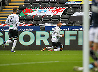 3rd October 2020; Liberty Stadium, Swansea, Glamorgan, Wales; English Football League Championship, Swansea City versus Millwall; Ben Cabango of Swansea City celebrates after scoring his sides second goal in the 68th minute