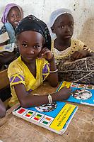 Senegal, Touba.  Young Girls at Al-Azhar Madrasa, a School for Islamic Studies.