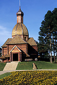 Curitiba, Brazil. Memorial to Ukrainian immigrants in Tingui Park; replica of a wooden church in Mallet.