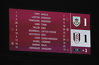 17th February 2021; Turf Moor, Burnley, Lanchashire, England; English Premier League Football, Burnley versus Fulham; a view of the scoreboard at full time