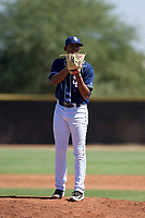 San Diego Padres pitcher Ronald Bolanos (77) prepares to deliver a pitch to the plate during an Instructional League game against the Texas Rangers on September 20, 2017 at Peoria Sports Complex in Peoria, Arizona. (Zachary Lucy/Four Seam Images)