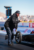 Nov 1, 2019; Las Vegas, NV, USA; Crew members for NHRA top alcohol dragster driver Jasmine Salinas during qualifying for the Dodge Nationals at The Strip at Las Vegas Motor Speedway. Mandatory Credit: Mark J. Rebilas-USA TODAY Sports