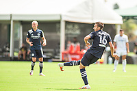 LAKE BUENA VISTA, FL - JULY 9: James Sands #16 of NYCFC kicks the ball during a game between New York City FC and Philadelphia Union at Wide World of Sports on July 9, 2020 in Lake Buena Vista, Florida.