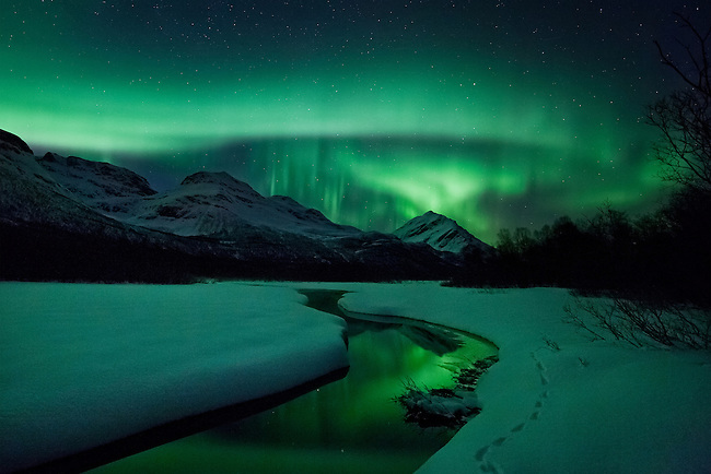 An absolut magic night. Fantastic majestic auroras, among earths other majestic elements like mountains, snow, and rivers, all lit by fantastic green auroras. The tracks in the snow is from a fox that was on location just before me.<br /> <br /> This is one of my absolute personal favorites, and one of my most popular shots.