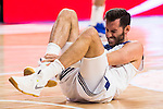 Real Madrid's player Rudy Fernandez injured during match of Liga Endesa at Barclaycard Center in Madrid. September 30, Spain. 2016. (ALTERPHOTOS/BorjaB.Hojas)