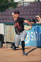 Nick Neidert (10) of the Modesto Nuts throws in the bullpen before pitching against the Inland Empire 66ers at San Manuel Stadium on June 2, 2017 in San Bernardino, California. Inland Empire defeated Modesto, 7-2. (Larry Goren/Four Seam Images)
