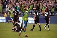 Fredy Montero (l) of the Seattle Sounders celebrates his goal against DC United in the match played on June 17, 2009 at Quest Field in Seattle, WA. The Sounders and United played to a 3-3 draw.