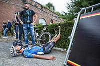 Dries De Bondt (BEL/Veranda's Willems-Crelan) dug deep.  Completly exhausted after finishing.<br /> <br /> <br /> 2nd Dwars door het Hageland 2017 (UCI 1.1)<br /> Aarschot > Diest : 193km
