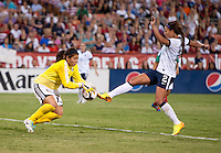 Cecilia Santiago, Sydney Leroux. The USWNT defeated Mexico, 7-0, during an international friendly at RFK Stadium in Washington, DC.  The USWNT defeated Mexico, 7-0.