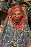 Bangladesh, Cox's Bazar. Kutupalong Rohingya Refugee Camp. The Rohingya, a Muslim ethnic group  denied citizenship in Burma/Myanmar have escaped persecution from Burmese militants in their country. There are up to 500,000 refugees and migrants living in makeshift camps in Cox's Bazar.