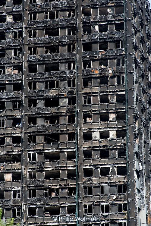 Burnt-out shell of Grenfell Tower, Kensington & Chelsea, London.