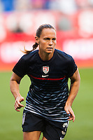 United States (USA) defender Christie Rampone (3) during warmups. The women's national team of the United States defeated the Korea Republic 5-0 during an international friendly at Red Bull Arena in Harrison, NJ, on June 20, 2013.