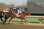 #6 Euphrosyne with jockey Ricardo Santana, Jr. winning after an objection during the running of the Honeybee Stakes (Grade III) at Oaklawn Park in Hot Springs, Arkansas-USA on March 8, 2014. (Credit Image: © Justin Manning/Eclipse/ZUMAPRESS.com)