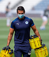 A member of the Wigan Athletic coaching staff wears a mask<br /> <br /> Photographer Alex Dodd/CameraSport<br /> <br /> The EFL Sky Bet Championship - Huddersfield Town v Wigan Athletic - Saturday 20th June 2020 - John Smith's Stadium - Huddersfield <br /> <br /> World Copyright © 2020 CameraSport. All rights reserved. 43 Linden Ave. Countesthorpe. Leicester. England. LE8 5PG - Tel: +44 (0) 116 277 4147 - admin@camerasport.com - www.camerasport.com