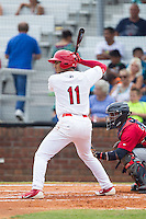 Chris Rivera (11) of the Johnson City Cardinals at bat against the Elizabethton Twins at Cardinal Park on July 27, 2014 in Johnson City, Tennessee.  The game was suspended in the top of the 5th inning with the Twins leading the Cardinals 7-6.  (Brian Westerholt/Four Seam Images)