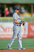 Chris Mariscal (3) of the Tacoma Rainiers on defense against the Salt Lake Bees at Smith's Ballpark on May 27, 2019 in Salt Lake City, Utah. The Bees defeated the Rainiers 5-0. (Stephen Smith/Four Seam Images)