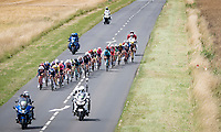 the peloton splits under pressure by the yellow jersey / GC leader Mathieu Van der Poel (NED/Alpecin-Fenix) himself > as a large breakaway group (or is this the new 'peloton'?) rides away from the bigger group<br /> <br /> Stage 7 from Vierzon to Le Creusot (249km)<br /> 108th Tour de France 2021 (2.UWT)<br /> <br /> ©kramon