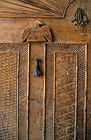 Traditional Egyptian carved wooden door, Sharm el-Sheikh, Sinai, Egypt.