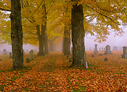 Greenlawn Cemetery in Mount Vernon, New Hampshire USA during the autumn months.