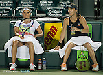 March 24 2016:  Martina Hingis (SUI) and Sania Mirza (IND) defeat Lara Arruabarrena (ESP) and Raluca Olura (ROU) 6-0, 6-4, at the Miami Open being played at Crandon Park Tennis Center in Miami, Key Biscayne, Florida.