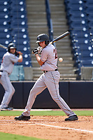 Jupiter Hammerheads Zack Kone (28) avoids an inside pitch during a game against the Tampa Tarpons on July 2, 2021 at George M. Steinbrenner Field in Tampa, Florida.  (Mike Janes/Four Seam Images)