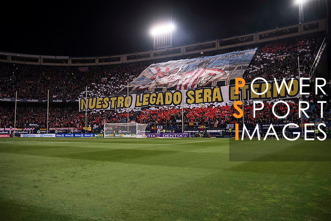 Atletico de Madrid fans show their supports during their La Liga match between Atletico de Madrid and Real Madrid at the Vicente Calderón Stadium on 19 November 2016 in Madrid, Spain. Photo by Diego Gonzalez Souto / Power Sport Images