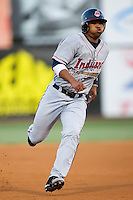 Alex Castillo (7) of the Kinston Indians hustles into third base versus the Winston-Salem Warthogs at Ernie Shore Field in Winston-Salem, NC, Saturday May 17, 2008.