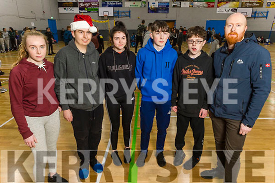 Kilorglin Community College students at the ETB Spikeball Blitz in the Tralee Sports Complex on Tuesday. L to r: Shauna McCarthy, Kevin Lynch, Caitlin Griffin, Billy Counihan, Aaron Foley and Neill Browne (Teacher)
