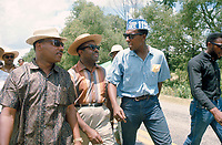 James Meredith March Through Mississippi, June 1966. March leaders along route - l to r - Martin Luther King , Ralph Abernathy, Stokely Carmichael..